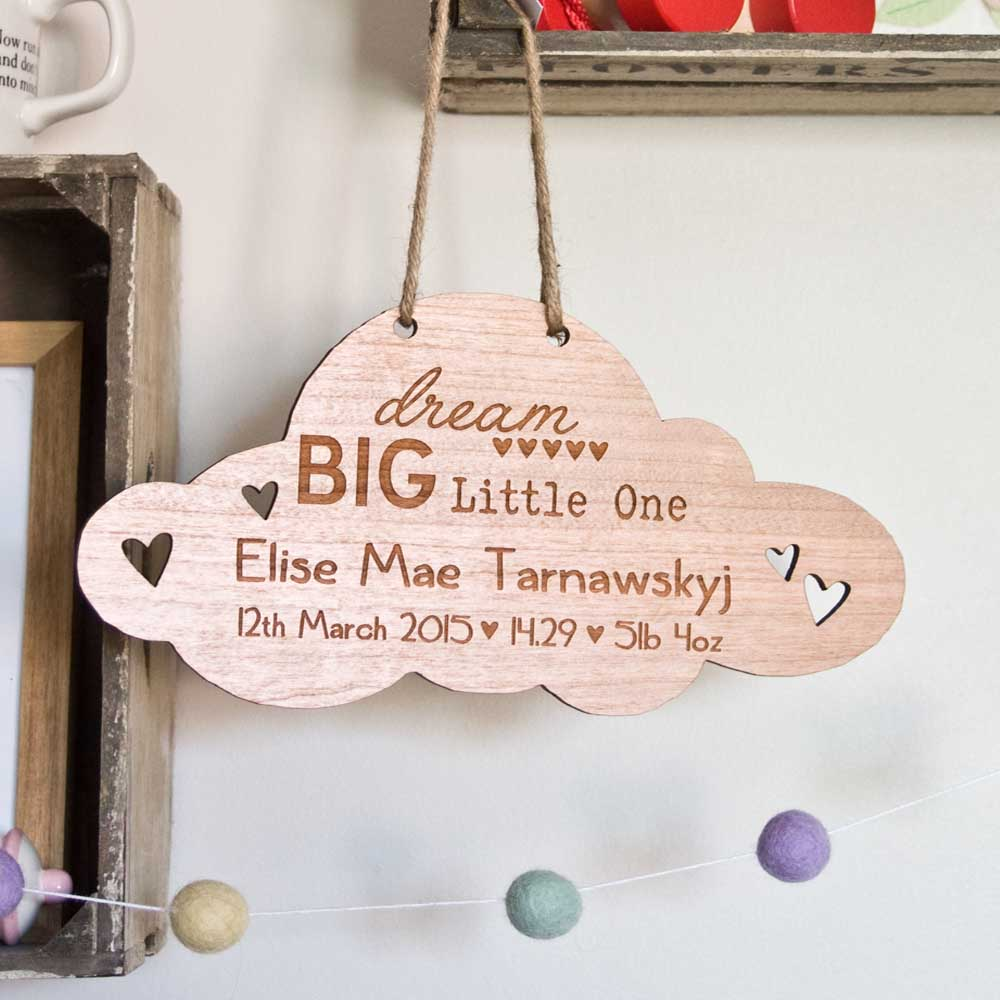 Birth Announcement Cloud Gift Plaque – Birth Announcement Plaques