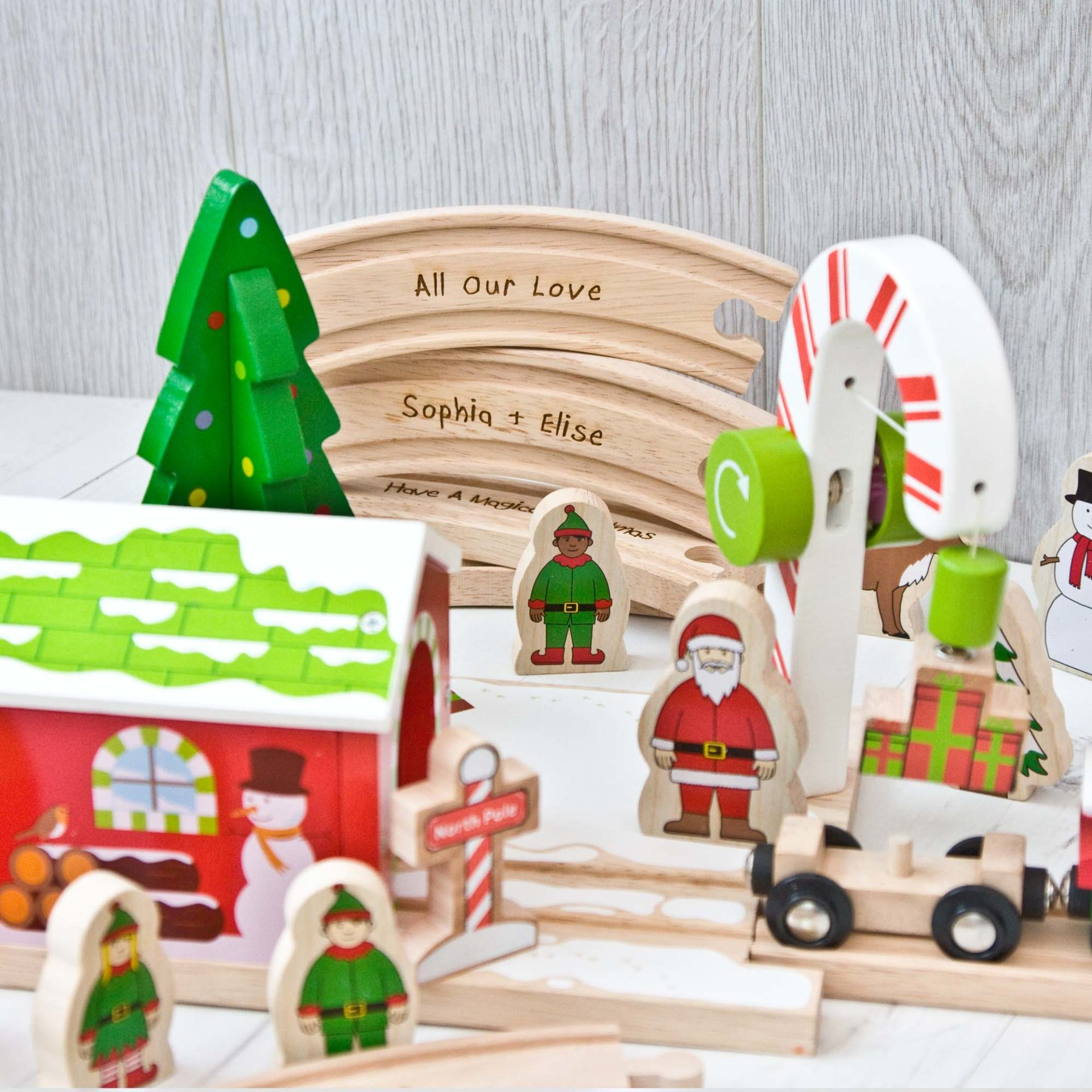 Christmas Train Set.Winter Wonderland Wooden Train Set