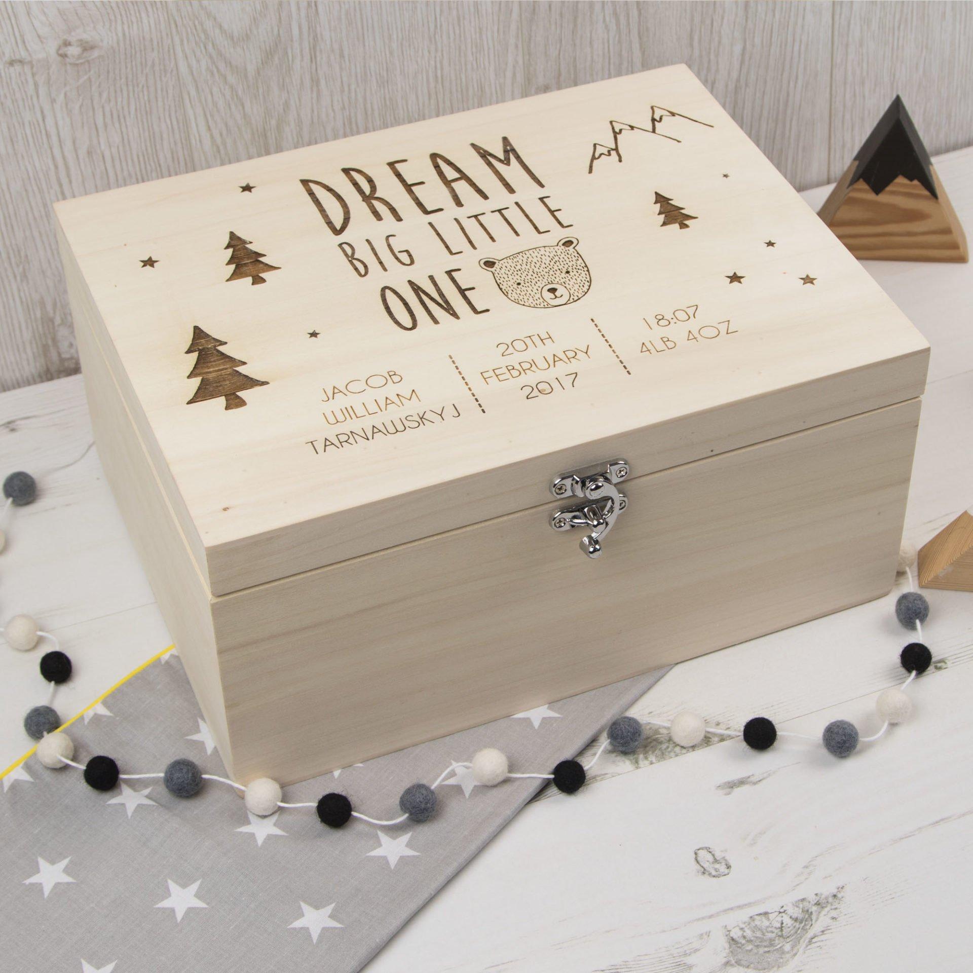 Natural Teddy Bear Oak Personalised Engraved Wooden Baby Memory Box
