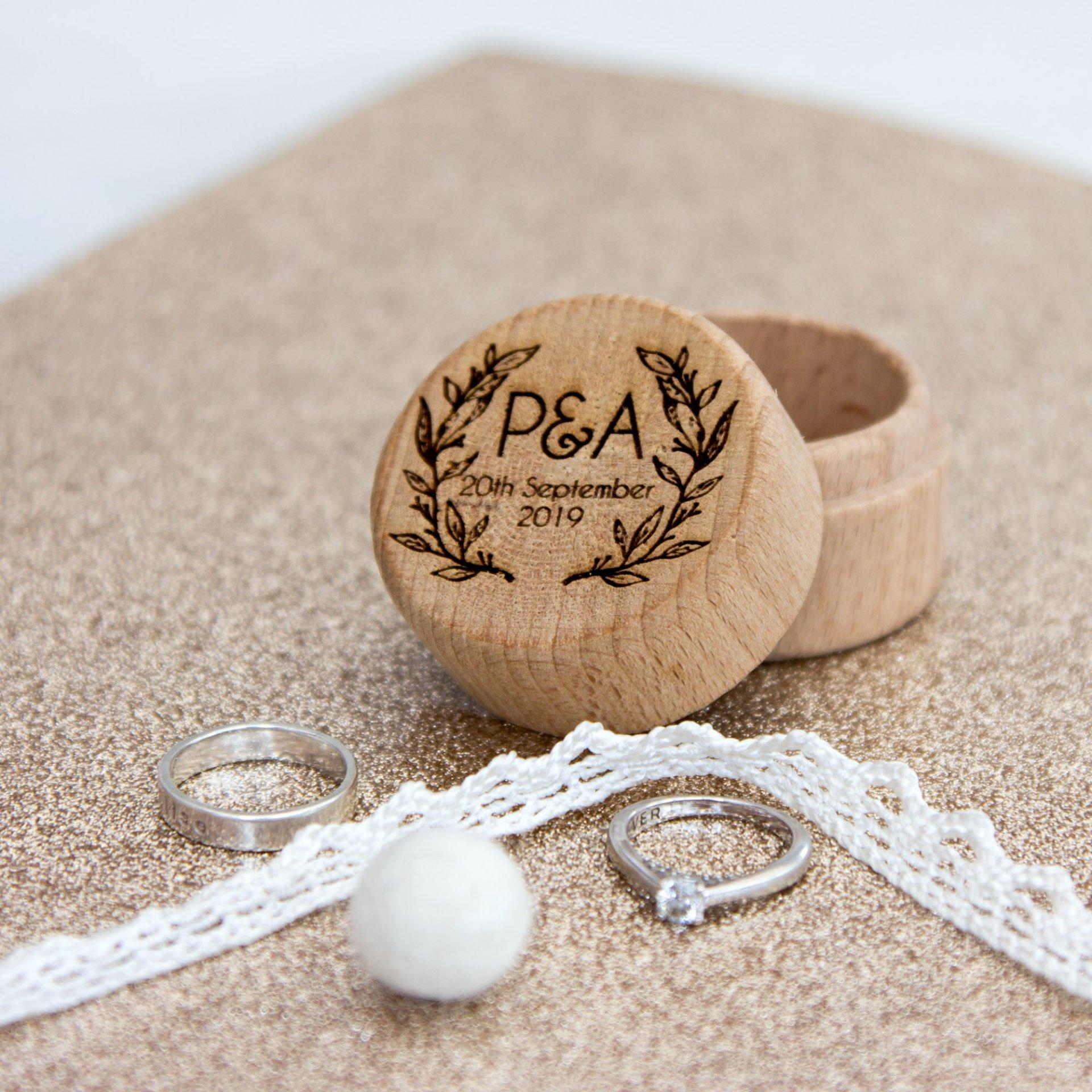Wedding Ring Box.Round Wedding Ring Box