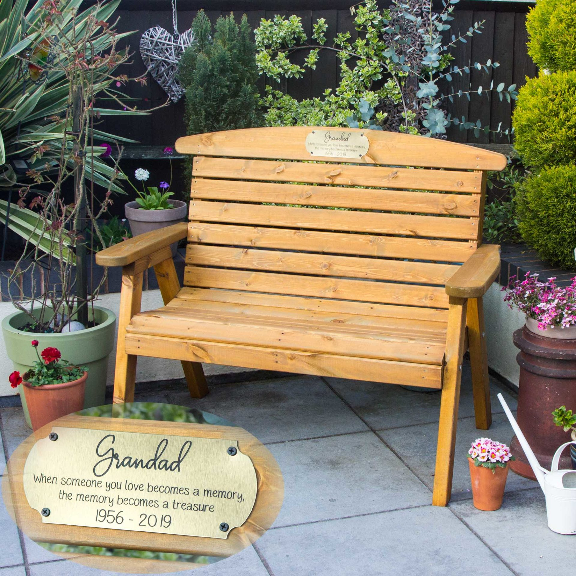 Incredible Memorial Personalised Garden Bench Caraccident5 Cool Chair Designs And Ideas Caraccident5Info