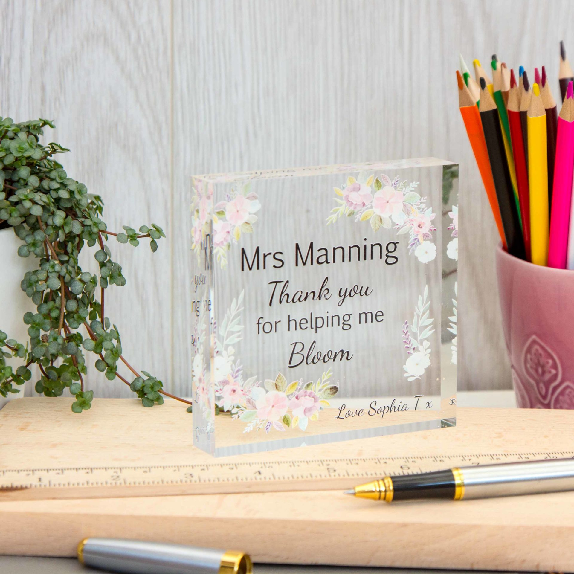 Teacher Acrylic Block Floral Design